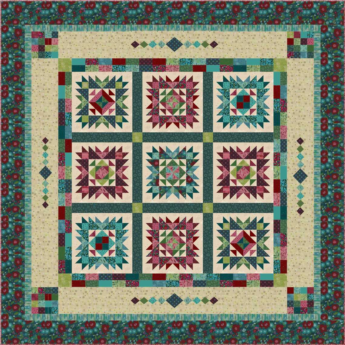 Painters Garden Pieced Quilt Image