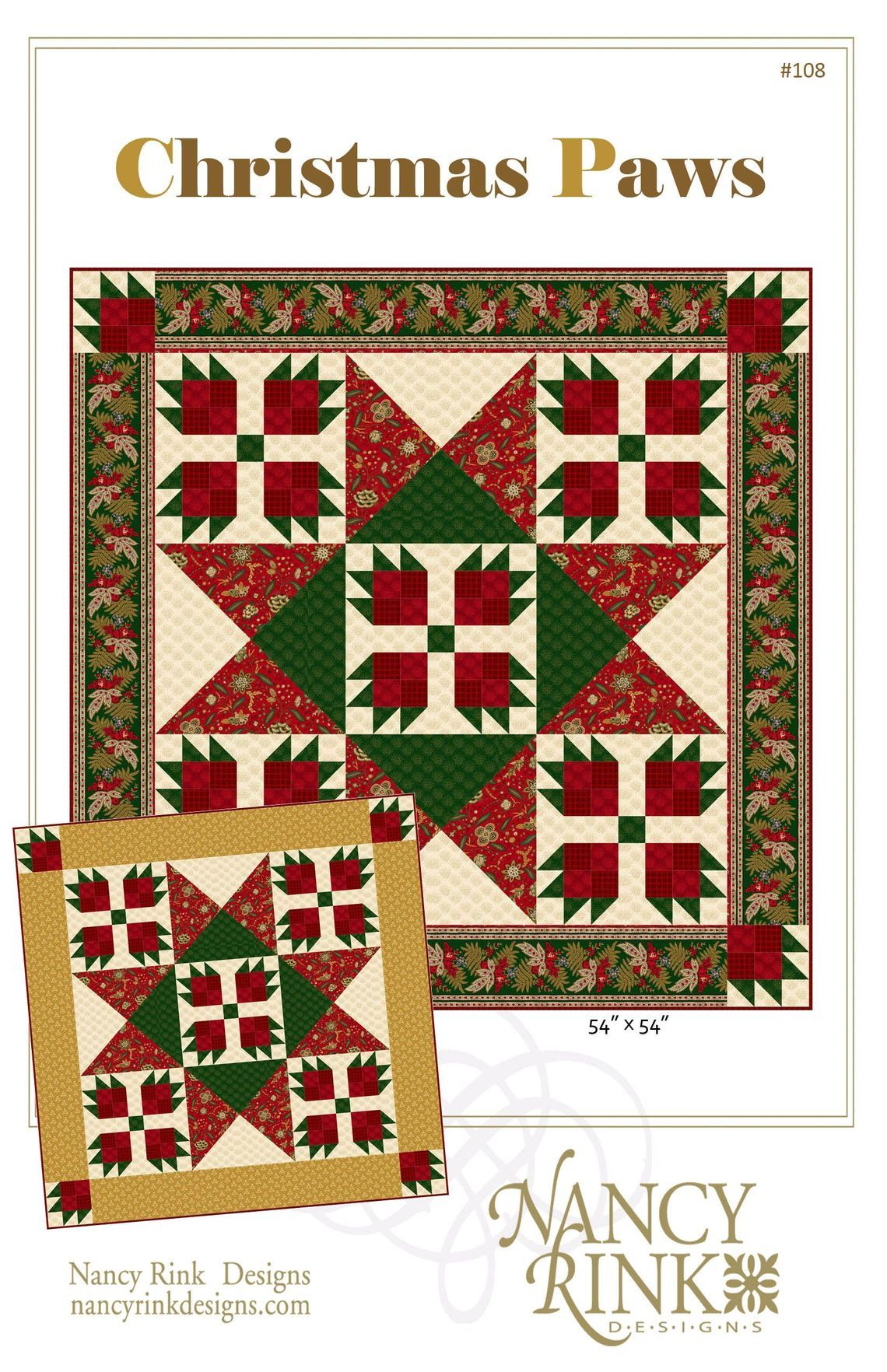Quilt Patterns 108 Christmas Paws Pattern